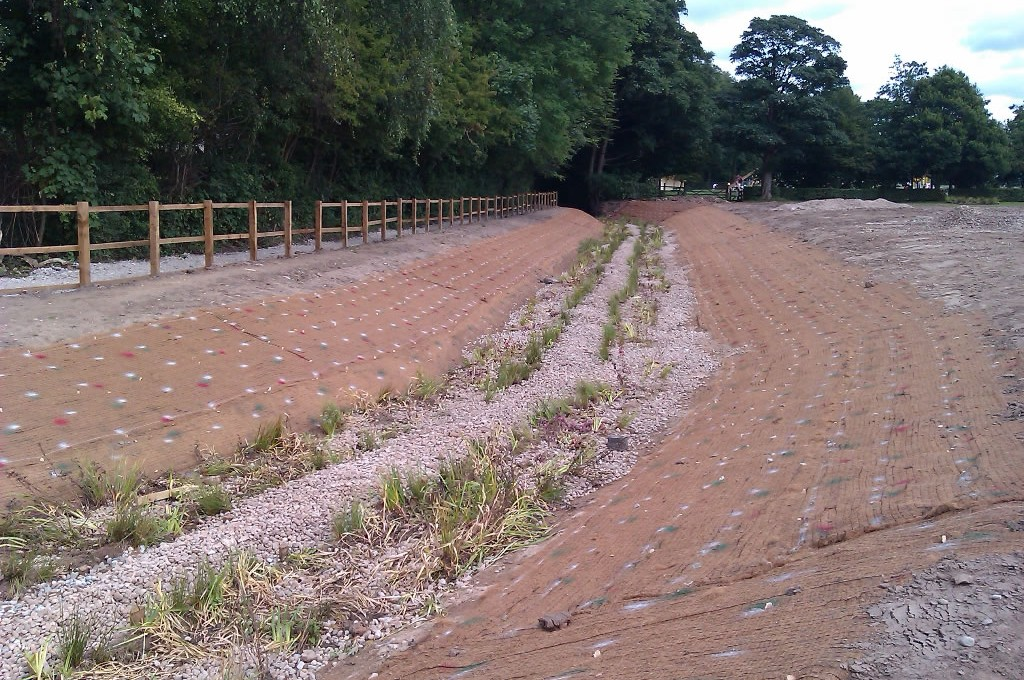 Newly installed erosion control solutions