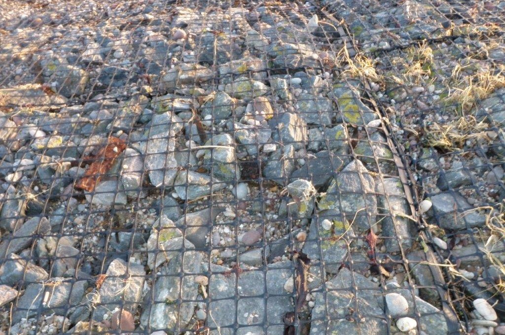 Existing Tensar gabion mat still intact and fully functional after 30 years on coastal site