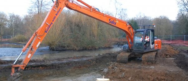 Beginning the reed bed creation at Pens Pond, Isabella Plantation, Richmond Park on behalf of the royal parks