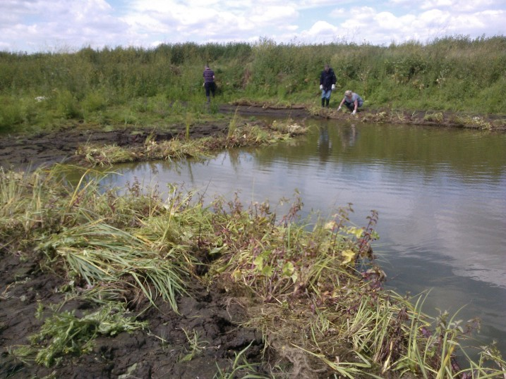 Volunteers installing pre-planted Coir Pallets - photos by Carys Hutton