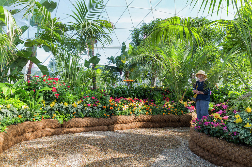 Visitors in the Butterfly Dome. RHS HamptonCourt Palace Flower Show 2016. Photos by RHS©