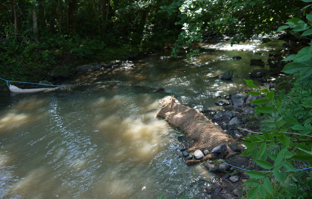 Silt Wattles used in combination with Floc Mats to slow flow