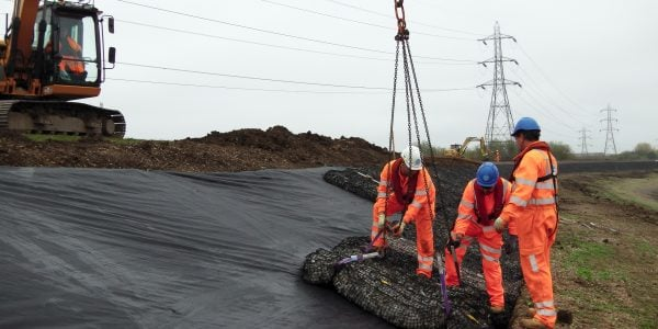 Rock Mattress installed Lockwood Reservoir with built in lifting strops